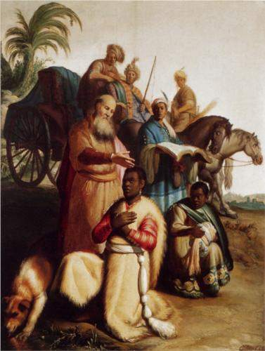 Rembrandt , The Baptism of the Eunuch (1626)