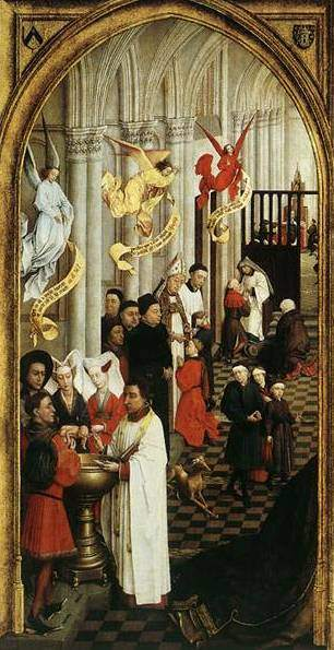 van der Weyden, Seven Sacraments Altarpiece (1450), left panel