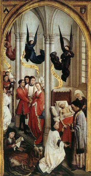 van der Weyden, Seven Sacraments Altarpiece (1450), right panel