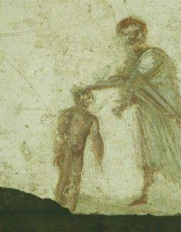 Painting of infant baptism from the Catacombs
