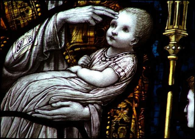 Infant baptism, in stained glass (From St. Peter's List).