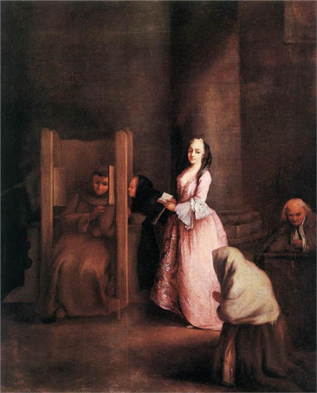 Pietro Longhi (1701-1785), The Confession