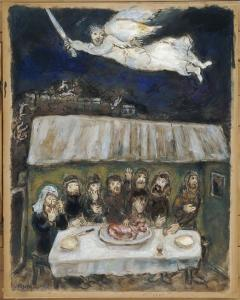 "Marc Chagall, ""The Israelites are eating the Passover Lamb"" (1931)"
