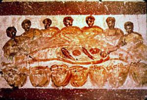 Agape feast, Catacombe di San Priscilla, Rome.