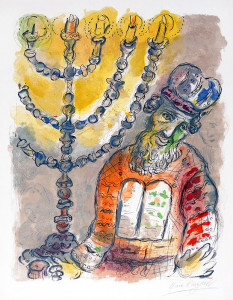 Marc Chagall. Aaron and the Seven-Branched Candlestick from Exodus (1966).