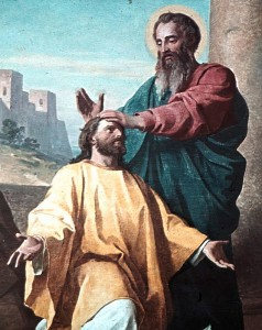 Paul ordaining Timothy.